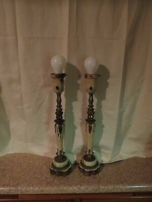 Pair of Vintage Rembrant Lamps Brass and Marble