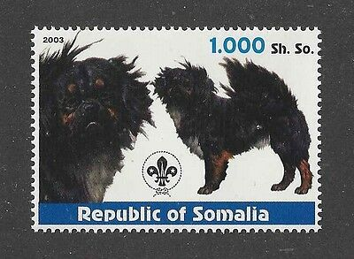 Dog Art Head Body Study Portrait Postage Stamp TIBETAN SPANIEL Somalia 2003 MNH