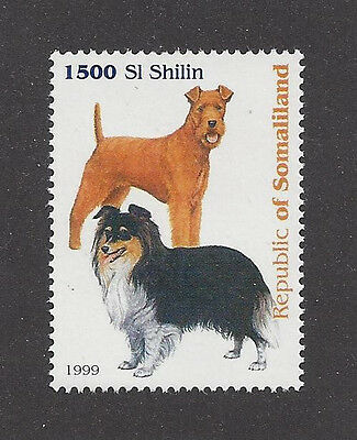 Dog Art Portrait Postage Stamp IRISH TERRIER SHETLAND SHEEPDOG Somalia 1999 MNH