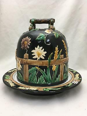 Vintage Majolica Cheese Dome George Jones Fence & Daisy or Wheat & Daisy Repro
