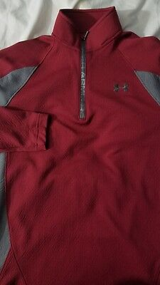 NWOT Mens Under Armour Half Zip Pullover shirt RED SMALL COLD GEAR