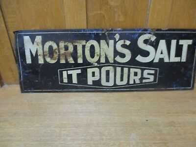 Vintage Mortons Salt Tin Metal Two Sided Advertising sign 27 X 9