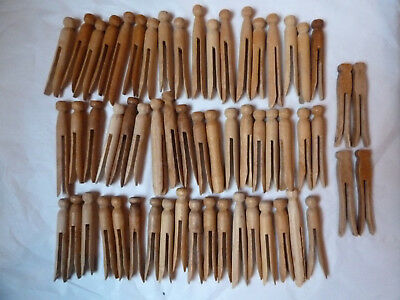 Vintage Wood Wooden Peg Clothespins Lot of 58 Round and Flat with Patina