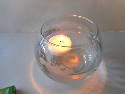 Nestles Nescafe Etched World Floating Candle Holder Mint Condition