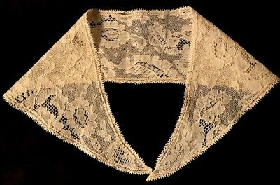 """Antique  Beautiful Victorian Embroidery on the Net Lace Collar 18"""", back 3"""" wide"""