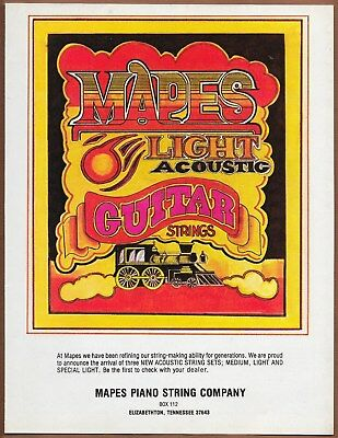 Mapes Piano String Company Guitar Strings Single Page Magazine Print Ad 1977