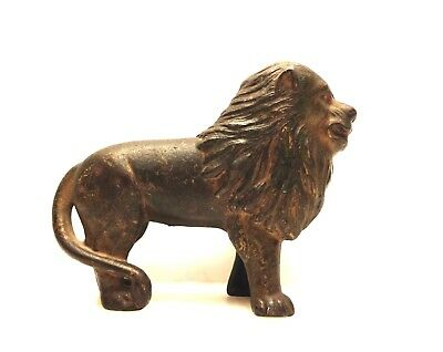 ANTIQUE OLD ORIGINAL LATE 1800s OLD CAST IRON LION ANIMAL SAVINGS STILL BANK TOY