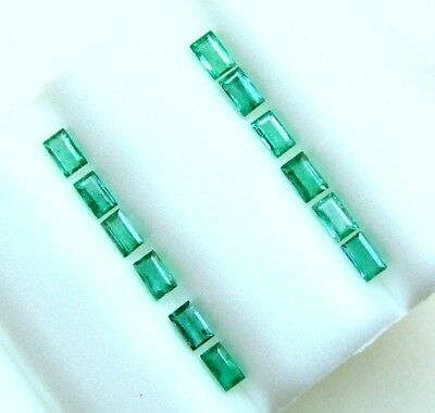 1.43 Cts Tol,  Natural Loose Gem Lot /12 Pcs  Baguette Emerald  3.5x2-2.3 MM LxW