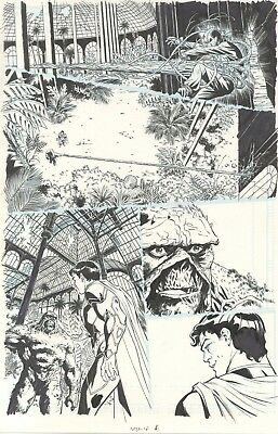 Swamp Thing original comic art page by Kano. Superman appears as well!