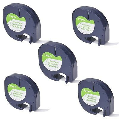 5PK Paper Label Tape fit for DYMO Letra Tag LT100T LT 91330 Black on White 12mm