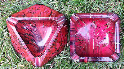 Rare Vintage Murano Italian Glass Mid Century Red Black Gold Pair of Ashtrays