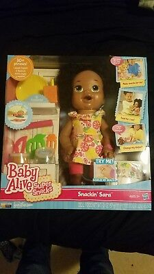 Baby Alive Snackin Sara African American Super Snacks Doll Bilingual 30+ phrases