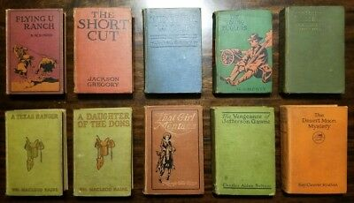 Lot of 10-Vintage Antique Early 1900s Rare Old Western Hardback Books