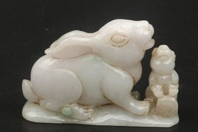 Chinese Exquisite Hand-carved Two rabbits carving Jadeite jade statue