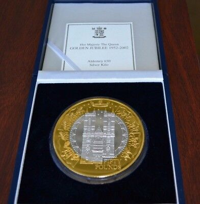 2002 Queen Elizabeth II Proof Medal 1000 Grams .999 Silver With Fine Gold - Rare