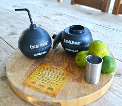 NEW SET OF 2 Captain Morgan Canon Blast Cannonball Rum Alcohol Drink Cups