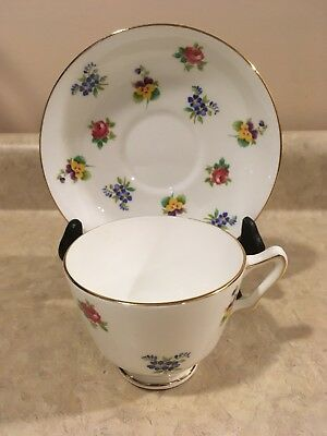 Crown Staffordshire Floral Bouquet Bone China Footed Tea Cup and Saucer England