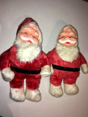 Two Vintage Plush Santa Claus 15 Inches Superior Toy and Novelty 1950's LOOK!