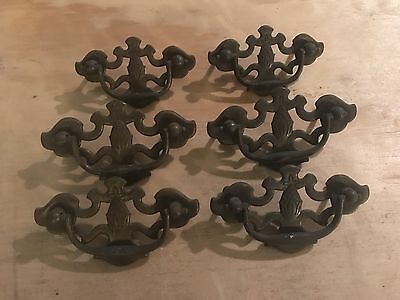 Vintage Antique Brass Hardware Drop Handle Drawer Pulls with Pineapples