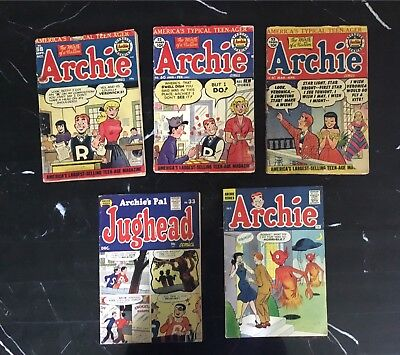 Lot (5) Golden Age ARCHIE'S #58,60,61, 124 (UFO Cover) & JUGHEAD 33 1950's MLJ