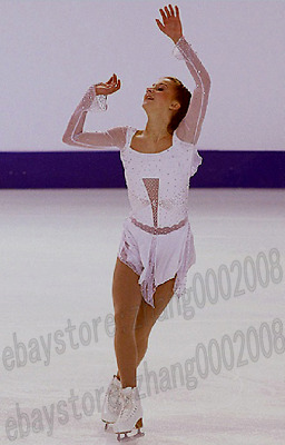 Ice Skating Dress.White Competition Figure Skating.Dance Baton Twirling Costume