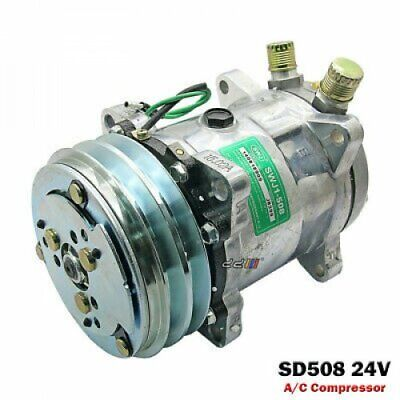 """New A//C Compressor SD505 Sanden Style 12Volt 2 Groove Pulley 3//4/"""" 7//8/"""" A//C Ports"""