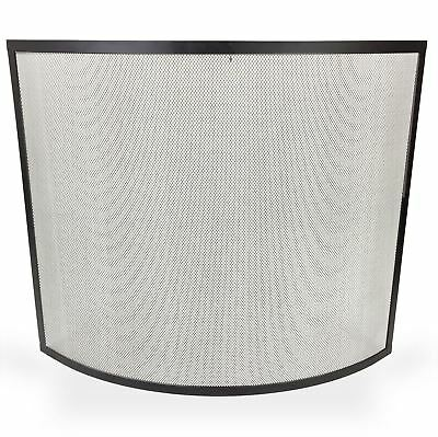Fire Place Guard Fire Screen Spark Flame Guard Curved Mesh Panel Design, Black