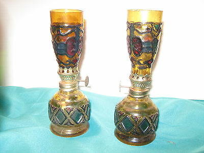 Vintage Early 1970's Pair of Gold Hand Blown Painted Mini Non-Electric Lamps