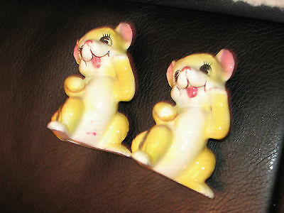 Pair of Porcelain Figurines Yellow with Black Striped Cats Vintage 1960's