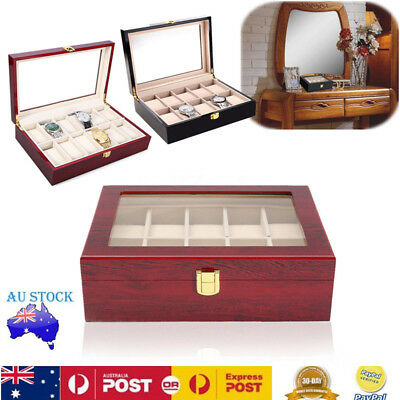 10 Grids Wooden Jewelry Watch Box Case Storage Organizer Glass Top Women Gift AU