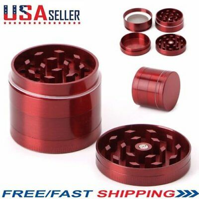 Tobacco Herb Spice Grinder 4-Layers Herbal Alloy Smoke Metal Hand Crusher Red
