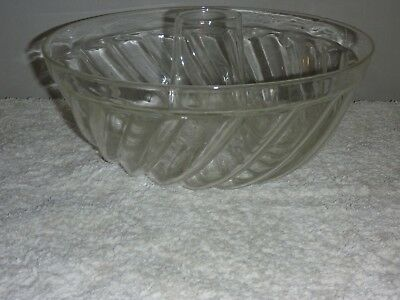 Vintage Glass Ornate Swirl Jello Mold Cake Ring Mould Jelly