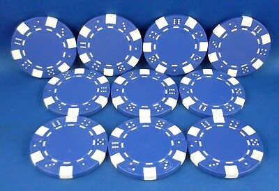 Replacement BLUE (10 Pc) Casino Styled Poker Chips Gaming Toy Hobby Accessory