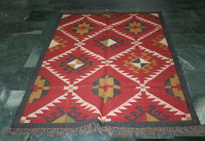 Kilim Rug Indian Jute Wool Hand Knotted Diamond Geometric Ara Rugs 4'x6' Size