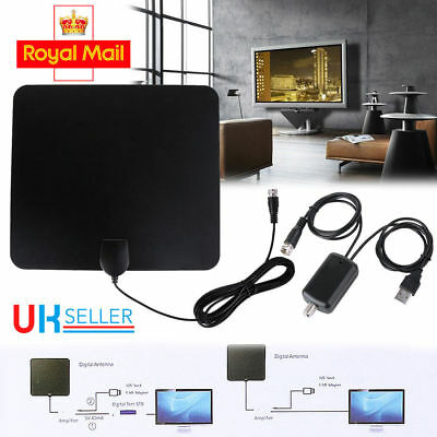 Digital Freeview 4K HD HDTV Indoor TV Antenna With Amplifier Signal Booster LED