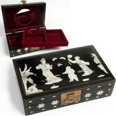 Vintage Chinese JEWELLERY BOX Lacquer & Mother of Pearl Antique Style Jewelry