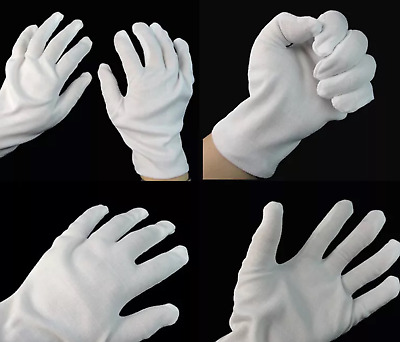 WHITE COTTON PAIR GLOVES - hand nail & skin care , cleaning soft boxing inner
