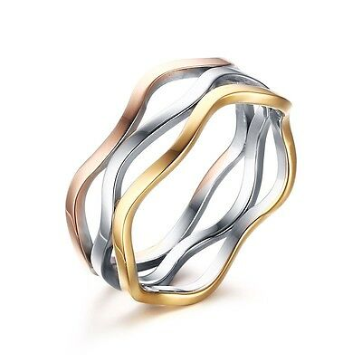 7mm Irregular Hollow 3 Wave Band Women's Stainless Steel Engagement Ring Sz 4-11