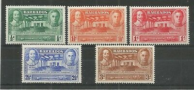 Barbados 1939 Tercentenary Of General Assembly Sg,257-261 Um/m Nh Lot 6145A