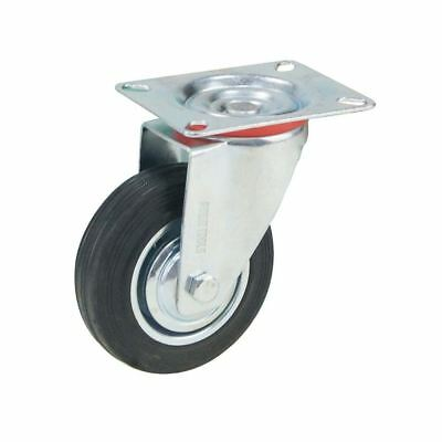 Heavy Duty Black Rubber Wheel Castors Swivel 100mm 4""
