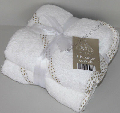 2 Hooded Towel 100% Cotton Soft White Hooded Towels Baby Boys Girls Unisex