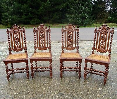 4 Antique Ornate Barley Twist Hand carved Wood  Parlour Chair rush Cane Seating