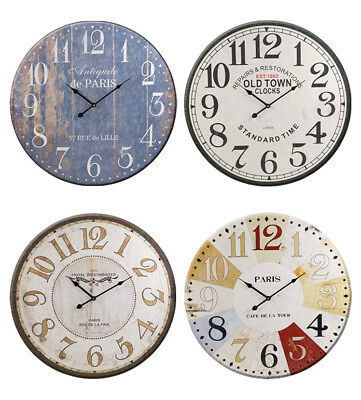 60cm Extra Large Wooden Wall Clock Vintage Retro Antique Distressed Shabby Chic