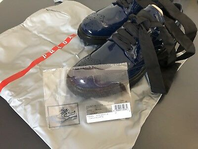 Prada unisex brogues patent leather midnight blue size 40 NEW thick rubber sole