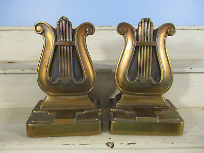 Vintage PM Craftsman Brass Lyre Bookends Marked 56 B