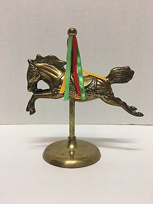 Vintage Solid Brass Carousel Horse Merry-Go-Round Pole and Base Ribbon