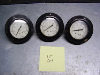 "Panel-Mount Pressure Gages (Lot Of 3) 0-15 Psi With Rear 1/8"" Npt Port Lot G-1"