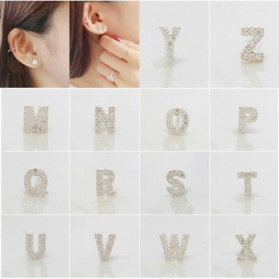 Fashion Women Silver Earrings Zircon Crystal Initial Alphabet 26 Letter Ear Stud