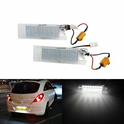 Xenon LED Number License Plate Light Lamps Canbus For Vauxhall Opel White 6000K