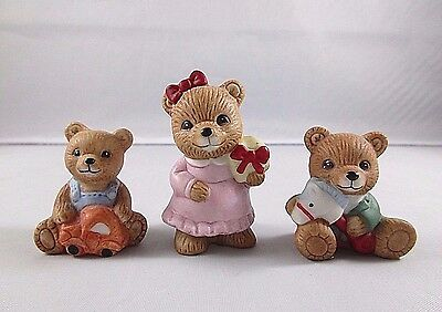 Set of 3 Miniature Home Interiors Homco Bear Figurines